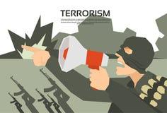 Chef de groupe de With Megaphone Terrorism de terroriste illustration de vecteur