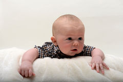 Chef de levage heureux de bébé de bébé de 2 mois  Images stock