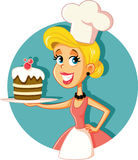 Chef de pâtisserie féminin Baking une illustration de vecteur de gâteau Image stock