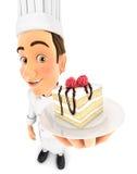chef de repostería de la cabeza 3d que lleva a cabo el pedazo de torta Fotos de archivo