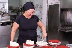 Chef de repostería de la mujer que sonríe y que trabaja feliz, haciendo las tortas en la tienda de pasteles foto de archivo libre de regalías