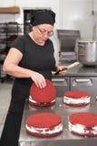 Chef de reposter?a de la mujer que sonr?e y que trabaja feliz, haciendo las tortas en la tienda de pasteles fotos de archivo libres de regalías