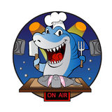 Chef de requin de bande dessinée illustration stock