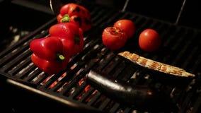 Chef de restaurant faisant cuire les légumes juteux appétissants sur le gril pour le dîner savoureux banque de vidéos
