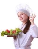 Chef de Yong avec la nourriture saine Images stock