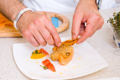 Chef decorate plate Stock Photo