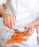 Chef decorate plate Royalty Free Stock Images