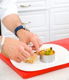 Chef decorate plate Stock Image