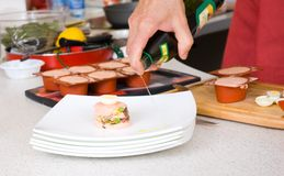 Chef decorate plate Royalty Free Stock Photo