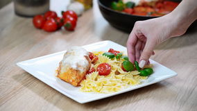 The chef decorate the plate with pasta Basil stock footage