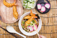 Chef decorated tempura  udon Royalty Free Stock Photo