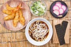Chef decorated tempura udon. / Cooking Tempura Udon concept stock photography