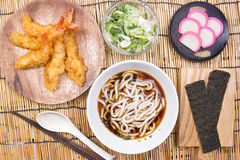 Chef decorated tempura udon. / Cooking Tempura Udon concept stock photo