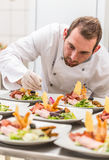 Chef decorating appetizer plate Royalty Free Stock Photos