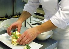 Closeup on the hands of a chef in a professional kitchen carefully decorating delicious dish royalty free stock images