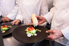 Chef decorating a food plate Royalty Free Stock Image