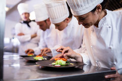 Chef decorating a food plate. In the commercial kitchen Royalty Free Stock Images