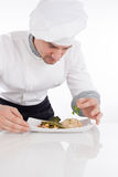 Chef decorating prepared food on plate Royalty Free Stock Images