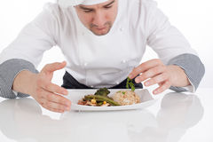 Chef decorating prepared food on plate Royalty Free Stock Photo