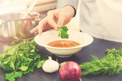 Chef decorating soup with herbs Stock Images
