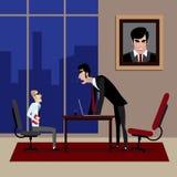 Chef, der auf seinem Angestellten im Büro schreit Stockfoto