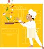 Chef in der Küche lizenzfreie abbildung