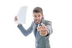 Chef, der mit Angestelltem sehr verärgert erhält Stockfotografie
