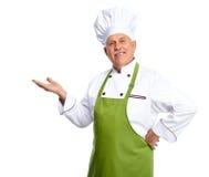 Chef, der am Restaurant einlädt. lizenzfreies stockfoto