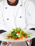 Chef, der Salat darstellt Lizenzfreie Stockfotos