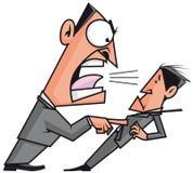 Chef, der seinen Angestellten schreit Stockbild