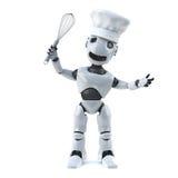 Chef des Roboters 3d mit wischen und Chefhut Lizenzfreie Stockfotografie