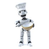 Chef des Roboters 3d mit wischen und Mischschüssel Lizenzfreie Stockfotografie