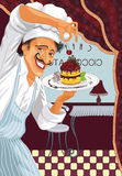 Chef with dessert. Chef of a restaurant holding a plate with cherry cake. Vector illustration Royalty Free Stock Photos
