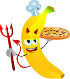 Chef devil banana showing a delicious pizza Royalty Free Stock Photos