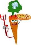 Chef devil carrot showing a delicious pizza Stock Image