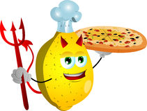 Chef devil lemon showing a delicious pizza Royalty Free Stock Photo