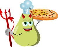 Chef devil pear showing a delicious pizza Stock Image