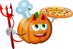 Chef devil pumpkin showing a delicious pizza Royalty Free Stock Photo