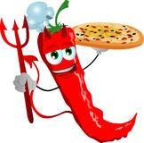 Chef devil red hot chili pepper showing a delicious pizza Royalty Free Stock Photography