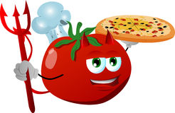 Chef devil tomato showing a delicious pizza Royalty Free Stock Images