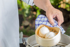 Chef with dim sum bun Stock Photography