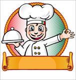 Chef with dish. Italian chef with dish and banner Royalty Free Stock Photos
