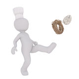 Chef disposing of nest with egg. Figure of faceless 3D man chef character kicking nest with egg, standing isolated on white background Royalty Free Stock Images