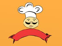 Chef drawing. In orange background vector illustration
