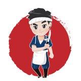 Chef du Japon de caractère de logo avec le couteau illustration de vecteur