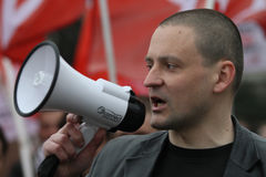 Chef du mouvement avant gauche Sergei Udaltsov dans le gauchiste de marais dans la ville centrale Un des chefs du mouvement de pr Images stock