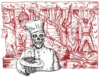 Chef in a dungeon. Vector art on Bodies inside a dungeon Royalty Free Stock Photos