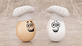 Chef egg. concept cook. 3d rendering vector illustration