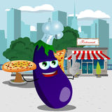 Chef eggplant holding pizza with attitude in front of a restaurant Stock Photo