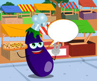 Chef eggplant with pizza gesturing the peace sign on the market with speech bubble Stock Images